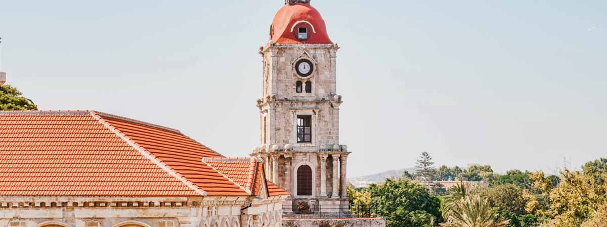 Medieval-Clock-Tower-rhodes-apartments-to-let